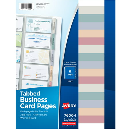 Avery Business Card Pages, Tabbed, Three-Hole Punched, 100 Cards Slots (76004)
