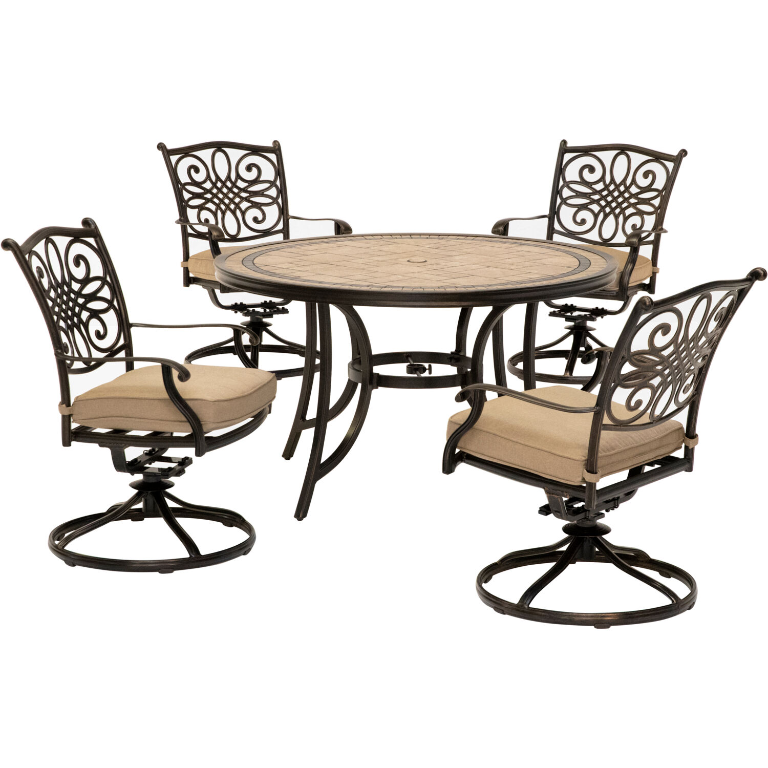 Hanover Monaco 5-Piece Patio Dining Set in Tan with Four ...