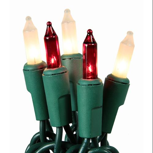 Set of 50 Super Bright Red and Frosted White Mini Christmas Lights - Green Wire
