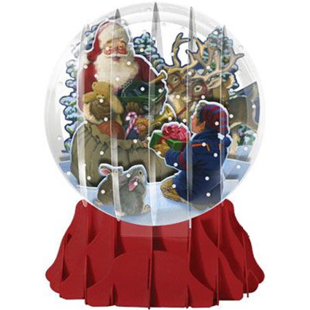Up With Paper Santa and Helper Large Snow Globe Pop-Up Christmas Card (Snow Globe Sea)