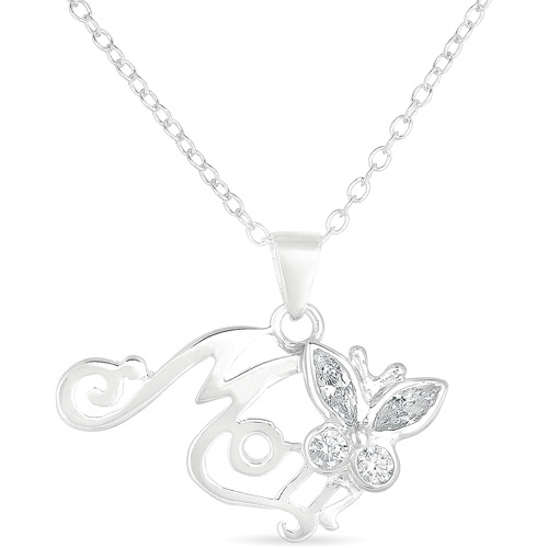 "CZ Sterling Silver ""Mom"" Butterfly Pendant, 18"""