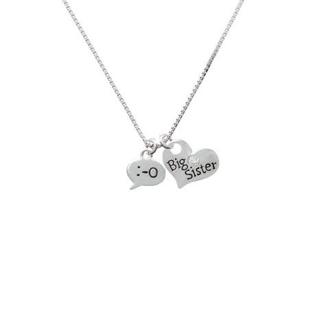 Silvertone Emoticon :-O - Surprise - Big Sister Heart Necklace - Heart Emojicon
