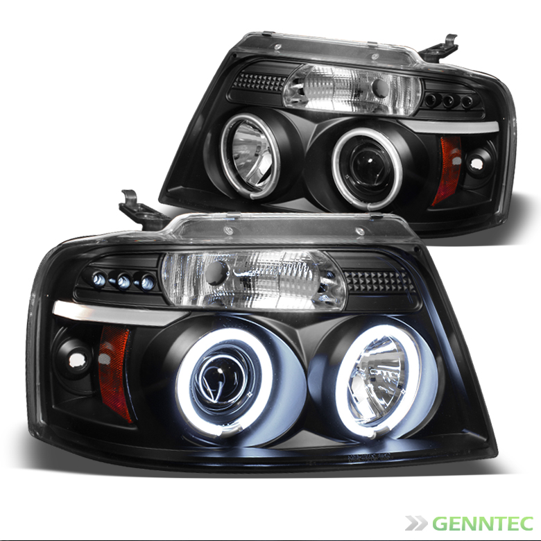 2004-2008 F150 Black CCFL Halo Projector Headlights w/LED Pair Left+Right 2005 2006 2007