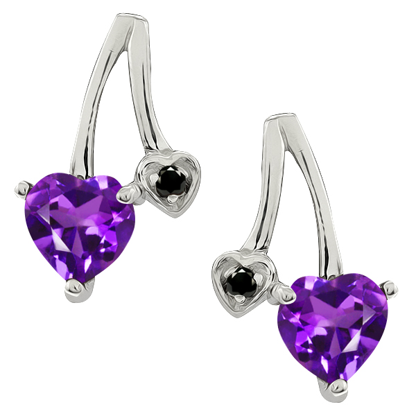 0.81 Ct Heart Shape Purple Amethyst and Diamond 14k White Gold Earrings