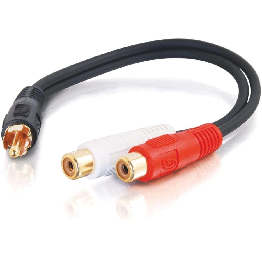 6IN VALUE SERIESANDTRADE; ONE RCA MONO MALE TO TWO RCA STEREO FEMALE Y-CABLE