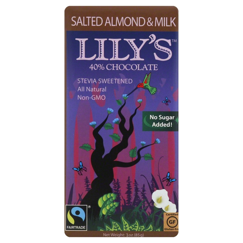Lily's 40% Cocoa Chocolate Bar, Salted Almond & Milk, 3 Oz