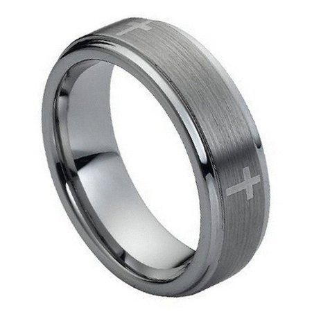 Mens Wedding Bands Cross - 7mm Tungsten Carbide stepped edge brushed center with Cross Wedding Band Ring For Men or Ladies