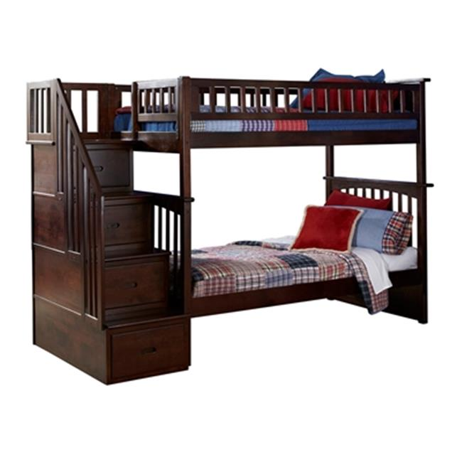 Columbia Stair Bunk, Twin Over Twin Size - Antique Walnut