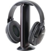 Stereo Wireless Over Ear Headphones - Hi-fi Headphone Professional Black Monitor Headset with 30m Range, Noise Isolation Padding, Microphone - TV, Computer,.., By Pyle
