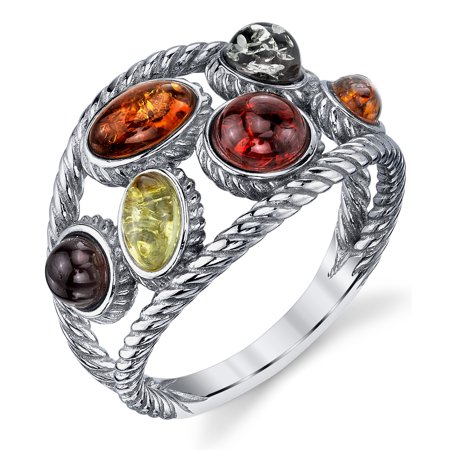 Braided Sterling Silver Baltic Amber Ring band with Multi Color Cabochon, Cherry Honey Olive and Cognac