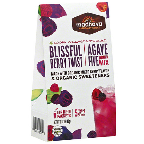 Madhava AgaveFIVE Blissful Berry Twist Drink Mix, 6 count, .67 oz (Pack of 6)