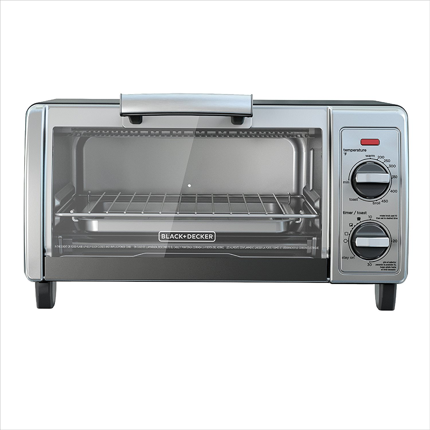 Black & Decker 4-Slice Toaster Oven, Easy Controls, Stainless Steel, TO1705SG by Spectrum Brands