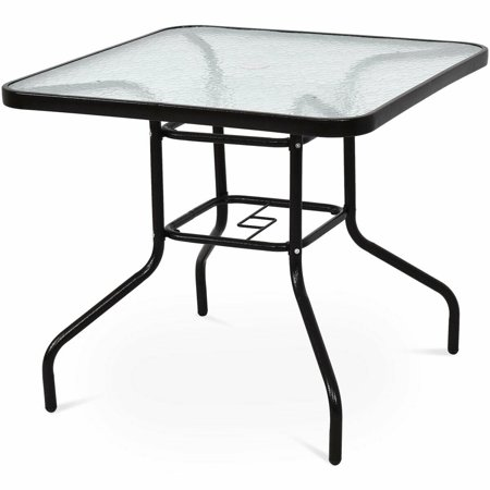 Costway 32'' Patio Square Table Steel Frame Dining Table Patio Furniture Glass Top ()