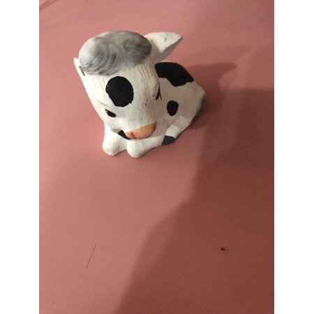 Cow Black and White Ceramic Sitter Figure Farm Cows Ships N 24h Missing An Ear](Ceramic Figures)