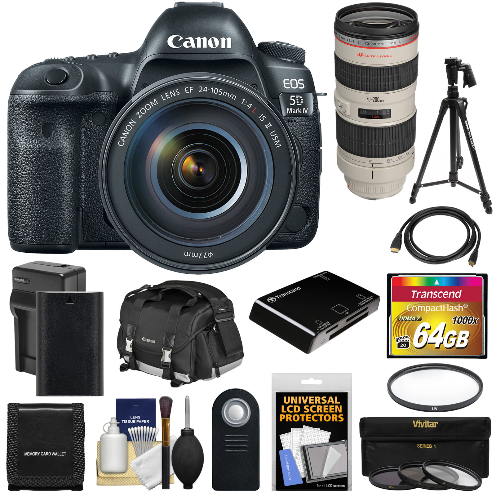 Canon EOS 5D Mark IV 4K Wi-Fi Digital SLR Camera & EF 24-105mm f 4L IS II USM with 70-200mm f 2.8L Lens + 64GB Card +... by Canon