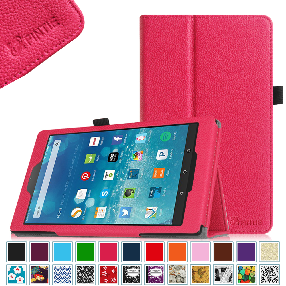 Fire HD 8 Case, Fintie Premium Vegan Leather Folio Cover with Auto Wake / Sleep for Amazon Fire HD 8 2015, Magenta