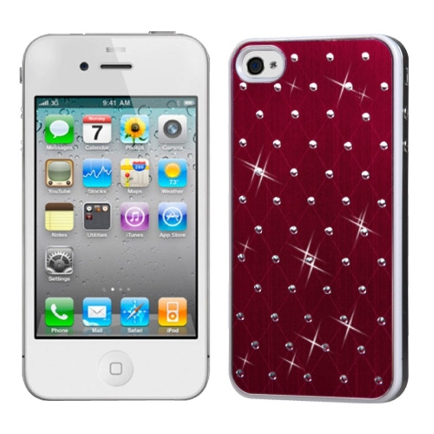 Insten Red Studded Back Plate Case Cover (White Sides) For iPhone 4 4S