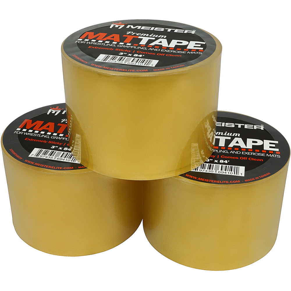 """Meister Premium Mat Tape for Wrestling, Grappling and Exercise Mats - Clear - 3"""" x 84ft - 3 Rolls"""