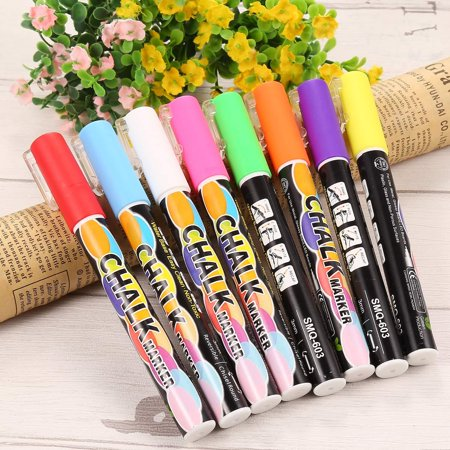 Fluorescent Orange Chalk (Non-Toxic Liquid Chalk Marker Pen LED Borad Metal Glass Erasable Fluorescent Pen 9 Colors DIRESOP )
