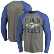 St. Louis Blues Fanatics Branded Timeless Collection Antique Stack Big & Tall Tri-Blend Long Sleeve Raglan T-Shirt - Ash