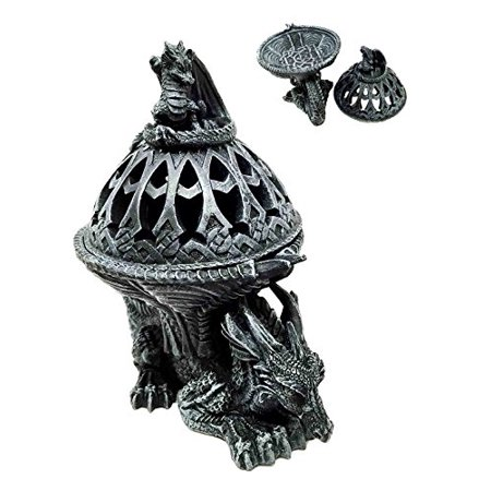 Crouching Atlas Dragon Tower Sphere Incense Burner Sculpture Figurine Faux Stone (Incense Stone Tower)