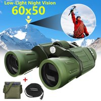 Light Weight 60x50 Military Army Zoom Binoculars Day / Low-Light Hunting Camping Outdoor Traveling Telescope with Pouch