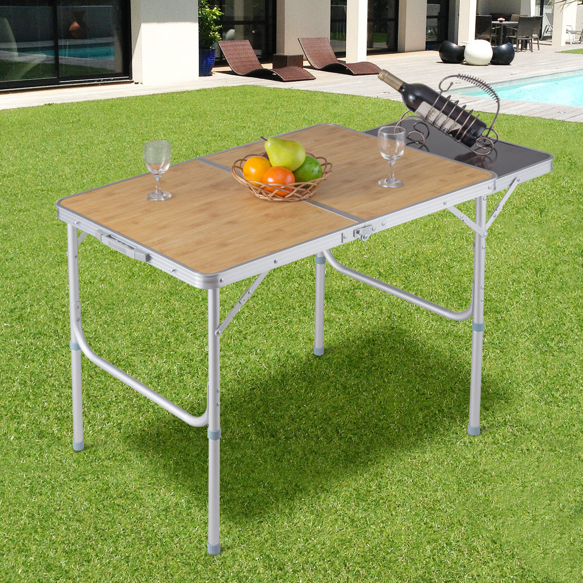 Costway Aluminum Folding Picnic Camping Table Lightweight Indoor Outdoor Garden Party by Costway