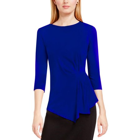 Vince Camuto Womens Ruched Asymmetric Casual Top