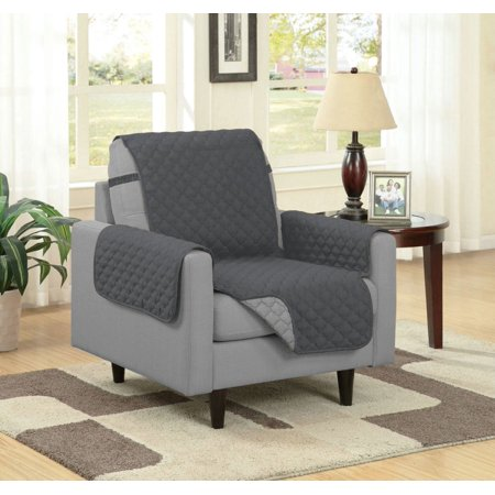 Linen Store Quilted Reversible Microfiber Pet Dog Couch Furniture Protector Cover With Strap, Chair, Gray/Charcoal ()
