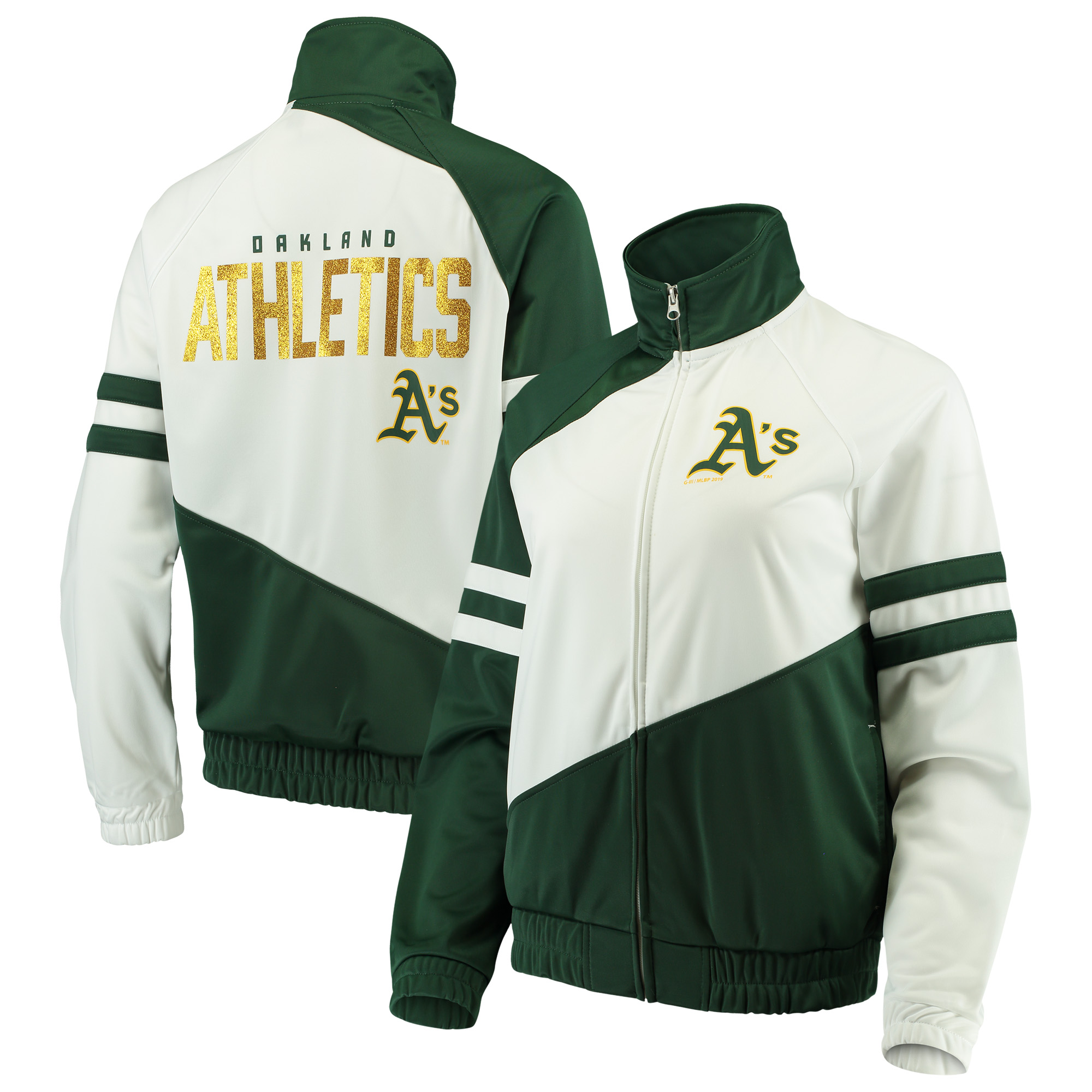 Oakland Athletics G-III 4Her by Carl Banks Women's Perfect Pitch Track Jacket - Green/White