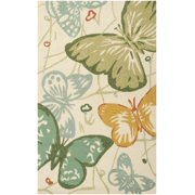 2' x 3' Butterfly Dream Cream Hand Hooked Medium Pile Shed-Free Area Throw Rug