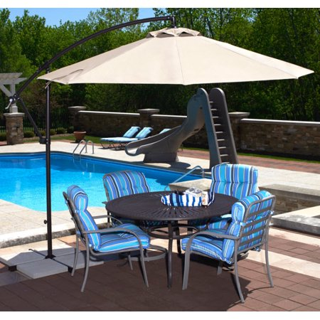 Island Umbrella Santiago 10-ft Octagonal Cantilever Umbrella with Champagne Olefin Canopy (Required Island Canopy)