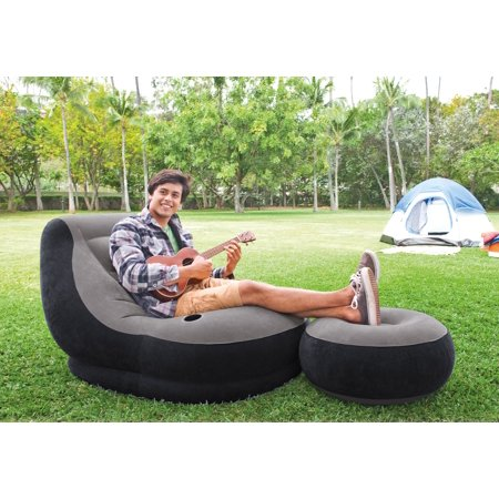Intex 120V AC Electric Air Pump & Inflatable Ultra Lounge Chair And Ottoman - Ultra Inflatable