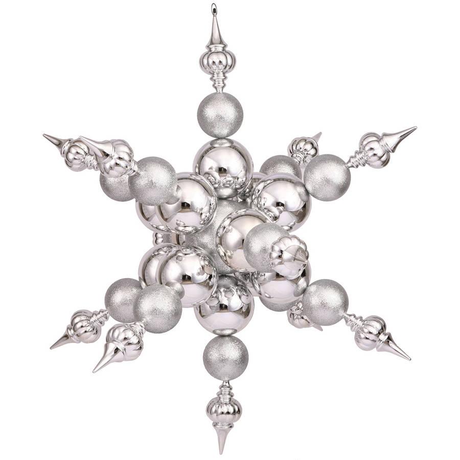 "Vickerman 39"" Silver Radical Shiny/Glitter Snowflake"