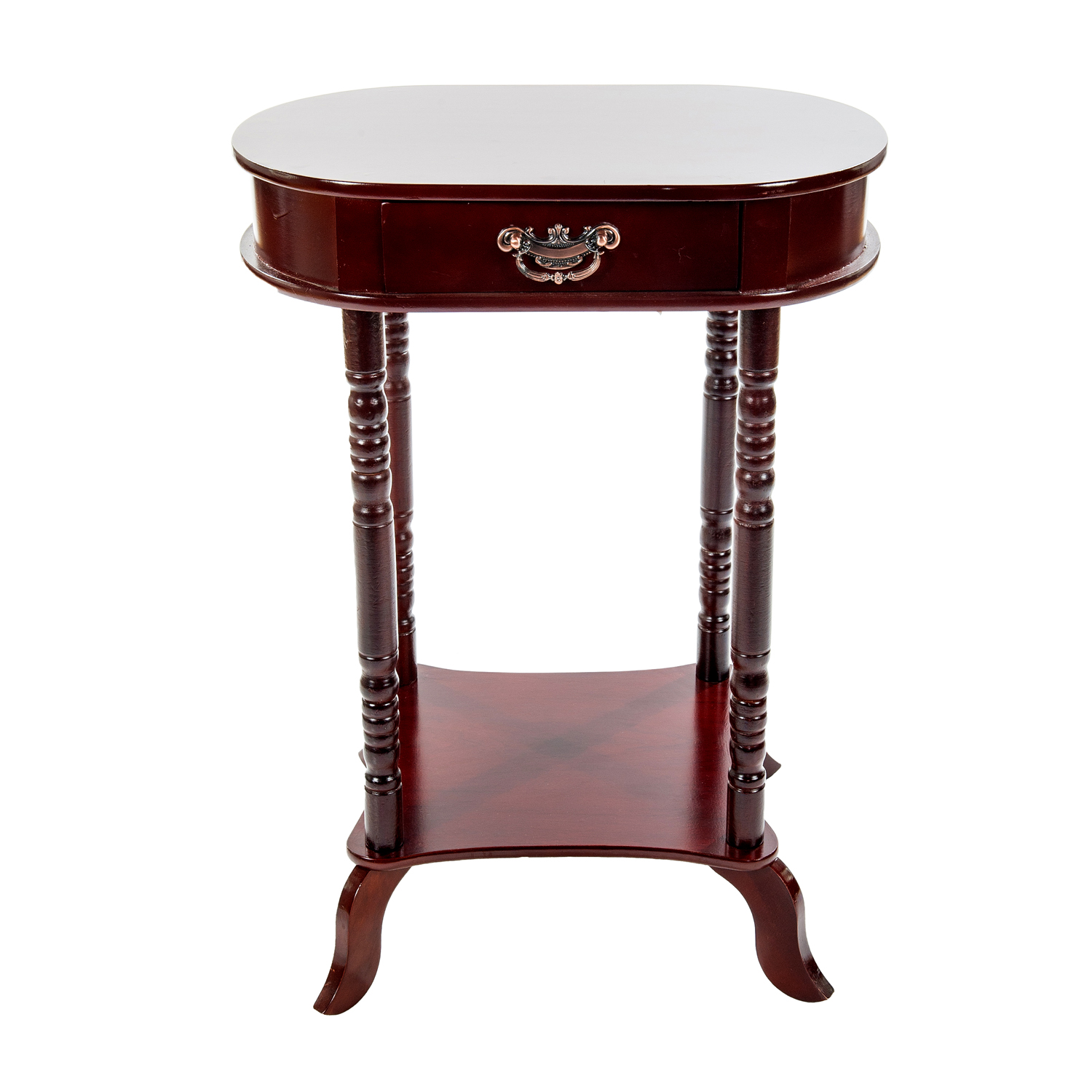 Home Source Mahogany Oval Accent Table