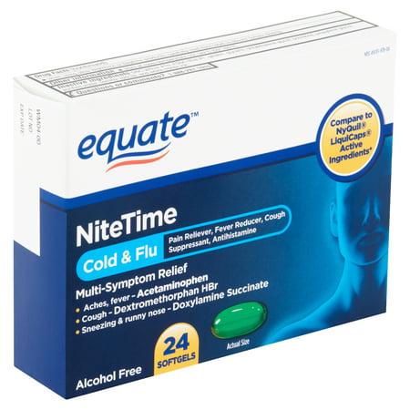 Equate NiteTime Cold & Flu Multi-Symptom Relief Softgels, 24