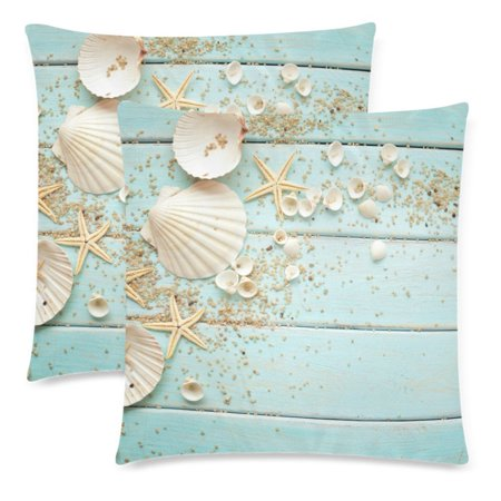 GCKG Wooden with Seashell Starfish Nautical Decor Throw Pillowcase Pillow Case 18x18 inches,Ocean Sea Shell Cushion Pillow Cover,Set of 2 - image 2 of 2