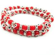 2 Charm Evil Eye Bracelet Glass Bead Protection Good Luck Jewelry Hamsa Hand Red
