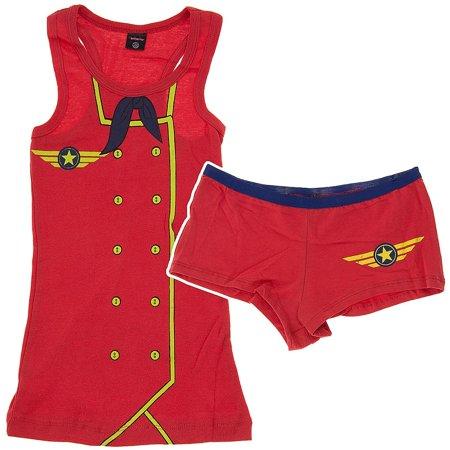 Red Flight Attendant Novelty Juniors Short Sleep Set ()