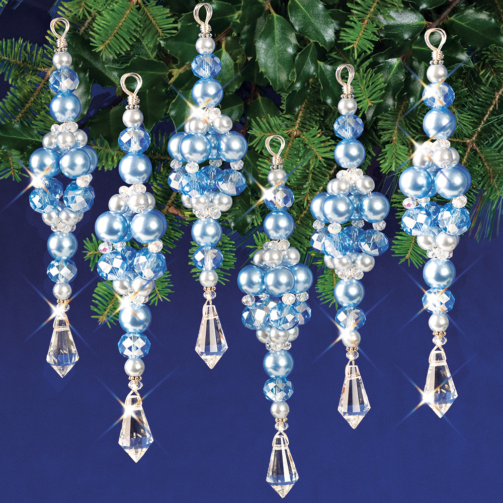 Nostalgic Beaded Ornament Kit CRYSTAL /& GOLD STARS Holiday Ornaments Makes 3