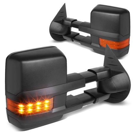 For 2007 to 2014 Chevy / GMC Silverado / Sierra Black Tow Mirrors Amber LED Turn Signal Lights