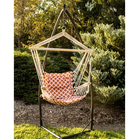 Astounding Hammock Chair With Stand Orange And White Rings Pattern Short Links Chair Design For Home Short Linksinfo