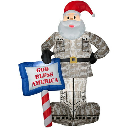 Gemmy Industries Airblown Military Santa with God Bless America Sign - Inflatable Santa