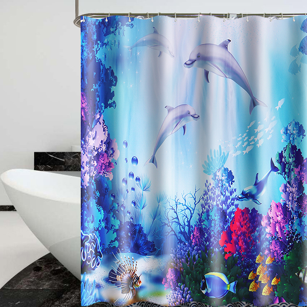3d Thicken Undersea Coral Shower Curtain Waterproof Bathroom Toilet Bath Window Curtain With 12 Hooks Walmart Canada