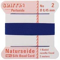 Griffin Silk Beading Cord & Needle Size 2 Dark Blue