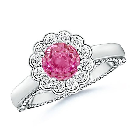 September Birthstone Ring - Vintage Inspired Pink Sapphire and Diamond Floral Ring in Platinum (6.5mm Pink Sapphire) - -