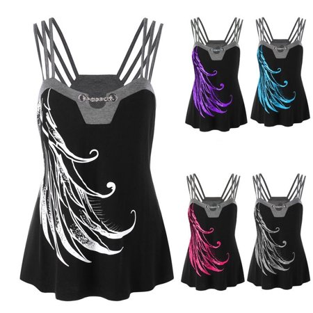 Female Summer Cool Sun-tops Sexy Feather Printed Loose Tank Tops T-shirt
