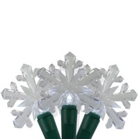 25 Pure White LED Snowflake Mini Christmas Lights - 8 ft Green Wire