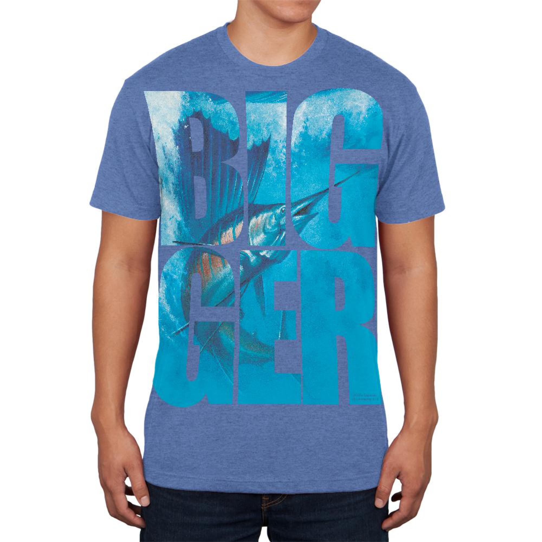 Size Does Matter Sailfish Heather Blue Adult Soft T-Shirt