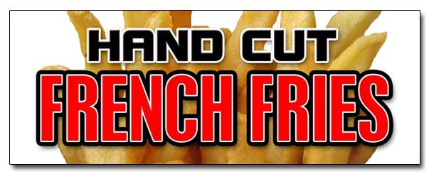 "12/"" HAND CUT FRENCH FRIES DECAL sticker chips idaho crispy frys hot fresh"
